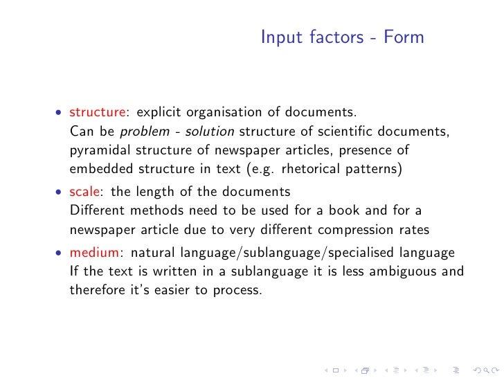 Input factors - Form   • language: monolingual/multilingual/cross-lingual
