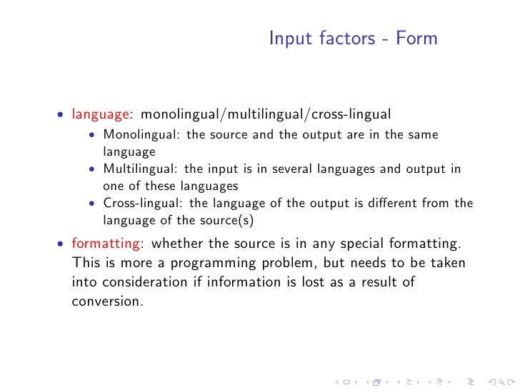 Input factors    • Subject type: intended readership   Indicates whether the source was written from the general   reader ...