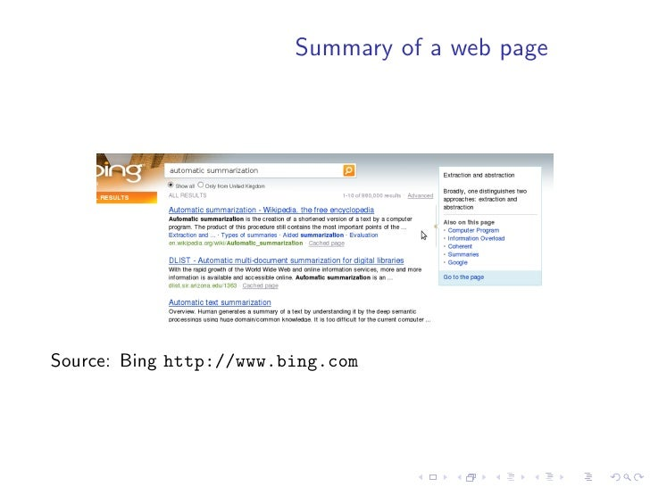 Summary of a web page     Source: Bing http://www.bing.com
