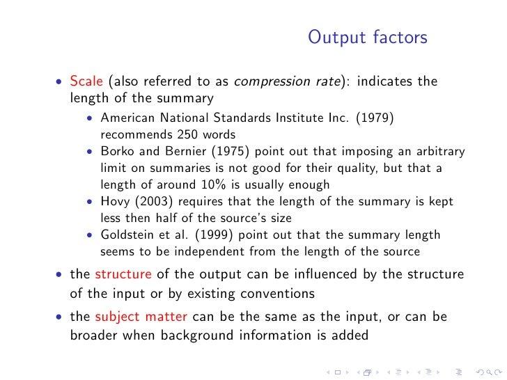 Evaluation of automatic     summarisation
