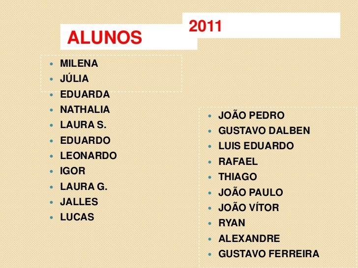 ALUNOS<br />2011<br />MILENA<br />JÚLIA<br />EDUARDA<br />NATHALIA<br />LAURA S.<br />EDUARDO<br />LEONARDO<br />IGOR<br /...