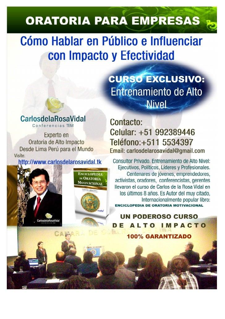 Web: www.carlosdelarosavidal.tk     Conferencias Motivacionales                  SEMINARIOS, CHARLAS,                  TAL...