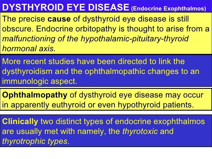 DYSTHYROID EYE DISEASE  (Endocrine Exophthalmos) Clinically  two distinct types of endocrine exophthalmos are usually met ...