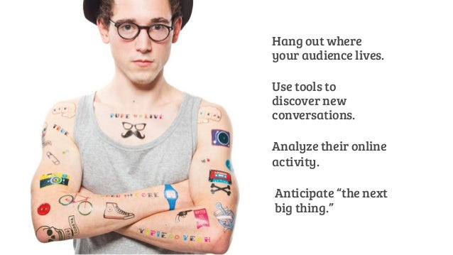 Hang out where  your audience lives.  Use tools to  discover new  conversations.  Analyze their online  activity.  Anticip...