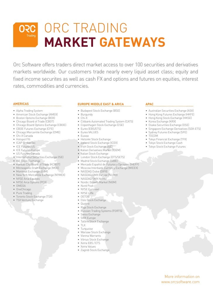 ORC TRADING                         MARKET GATEWAYS Orc Software offers traders direct market access to over 100 securitie...