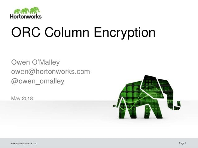 © Hortonworks Inc. 2018 ORC Column Encryption May 2018 Page 1 Owen O'Malley owen@hortonworks.com @owen_omalley