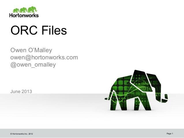 © Hortonworks Inc. 2012ORC FilesJune 2013Page 1Owen O'Malleyowen@hortonworks.com@owen_omalleyowen@hortonworks.com