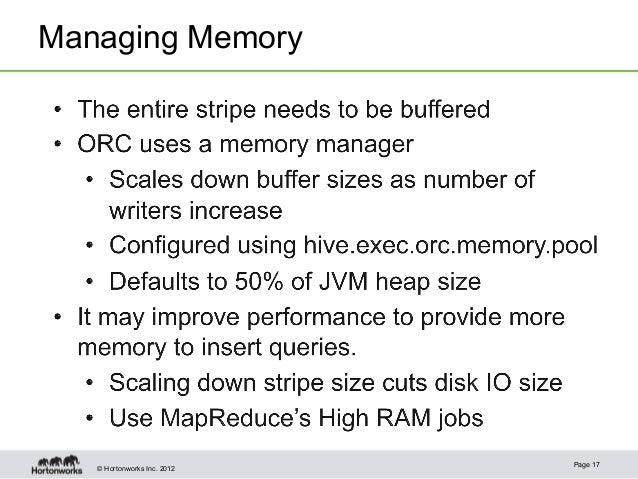 © Hortonworks Inc. 2012Managing MemoryPage 17