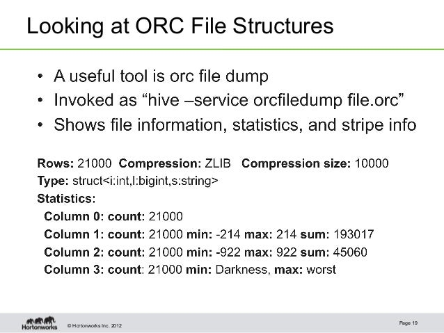 © Hortonworks Inc. 2012Looking at ORC File StructuresPage 19