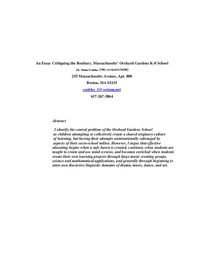 An Essay Critiquing the Roxbury, Massachusetts' Orchard Gardens K-8 School [By Charles H. Settles 3/06; revised 6/16/06] B...