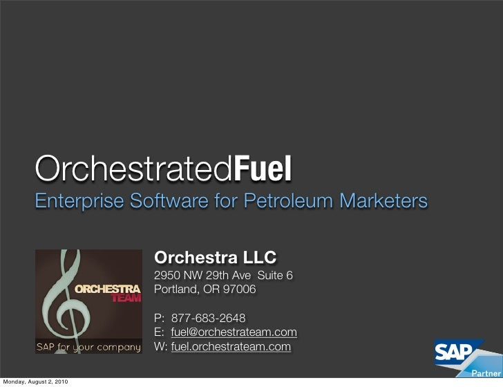 OrchestratedFuel           Enterprise Software for Petroleum Marketers                           Orchestra LLC            ...