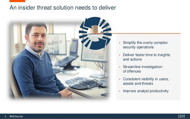 3 IBM Security An insider threat solution needs to deliver • Simplify the overly complex security operations • Deliver fas...