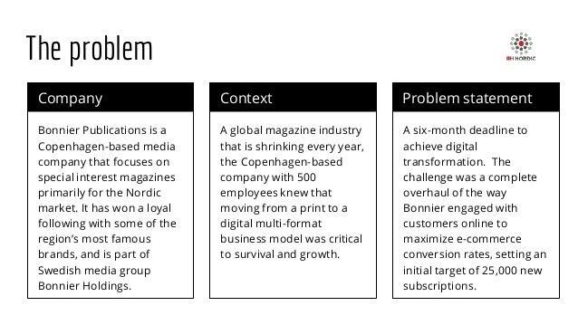 The problem Company Bonnier Publications is a Copenhagen-based media company that focuses on special interest magazines pr...