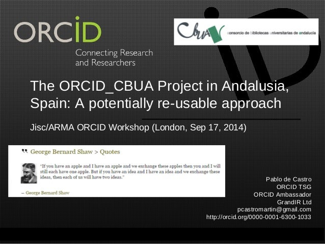 The ORCID_CBUA Project in Andalusia,  Spain: A potentially re-usable approach  Jisc/ARMA ORCID Workshop (London, Sep 17, 2...