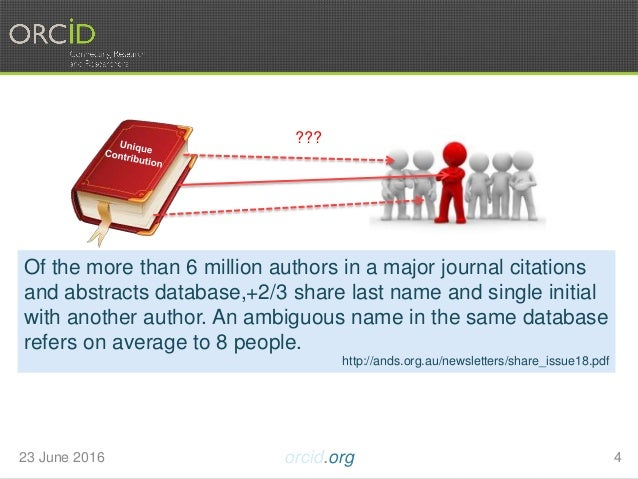 23 June 2016 orcid.org 4 Of the more than 6 million authors in a major journal citations and abstracts database,+2/3 share...