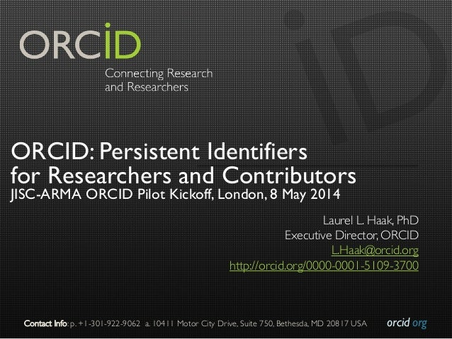 orcid.org  Contact Info: p. +1-301-922-9062 a. 10411 Motor City Drive, Suite 750, Bethesda, MD 20817 USA  ORCID: Persist...