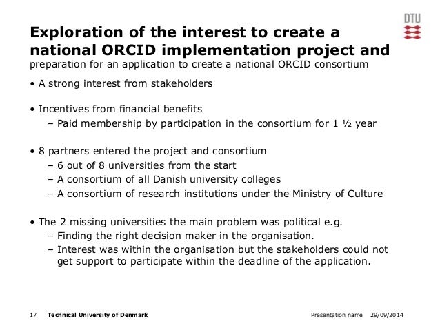 Exploration of the interest to create a  national ORCID implementation project and  preparation for an application to crea...