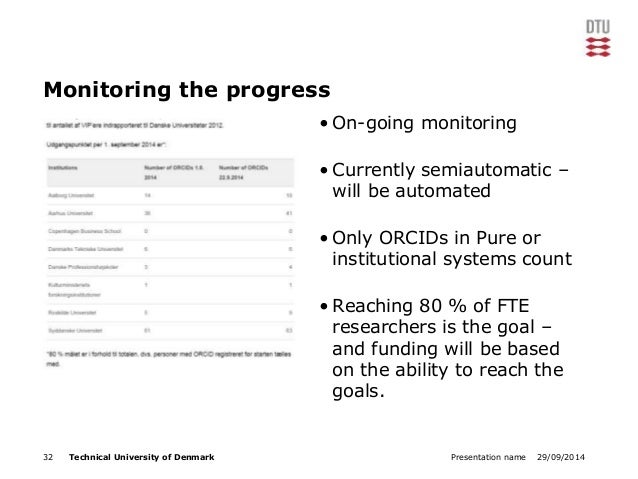Monitoring the progress  • On-going monitoring  • Currently semiautomatic –  will be automated  • Only ORCIDs in Pure or  ...