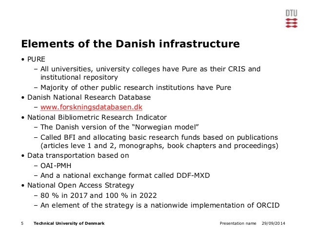 Elements of the Danish infrastructure  • PURE  – All universities, university colleges have Pure as their CRIS and  instit...