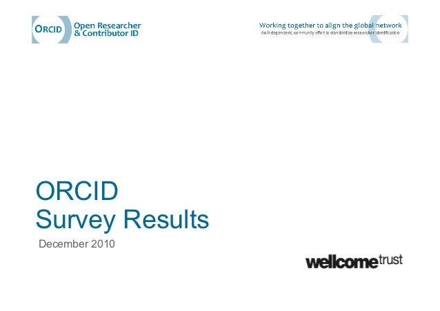ORCIDSurvey ResultsDecember 2010