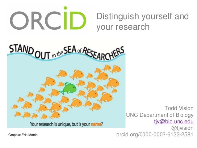 Distinguish yourself and your research  Graphic: Erin Morris  Todd Vision UNC Department of Biology tjv@bio.unc.edu @tjvis...