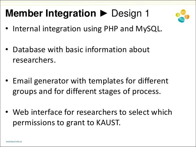 Member Integration ► Design 1 • Internal integration using PHP and MySQL. • Database with basic information about research...