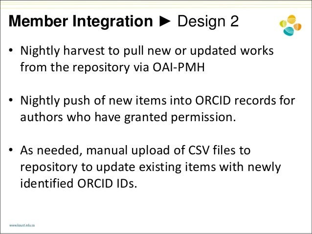 Member Integration ► Design 2 • Nightly harvest to pull new or updated works from the repository via OAI-PMH • Nightly pus...