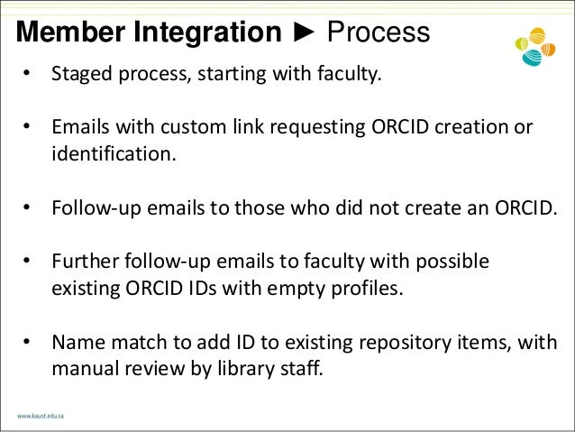 Member Integration ► Process • Staged process, starting with faculty. • Emails with custom link requesting ORCID creation ...