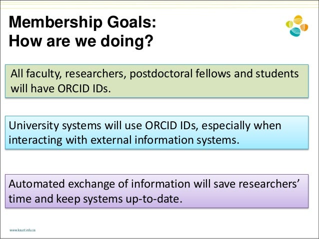 Membership Goals: How are we doing? All faculty, researchers, postdoctoral fellows and students will have ORCID IDs. Autom...