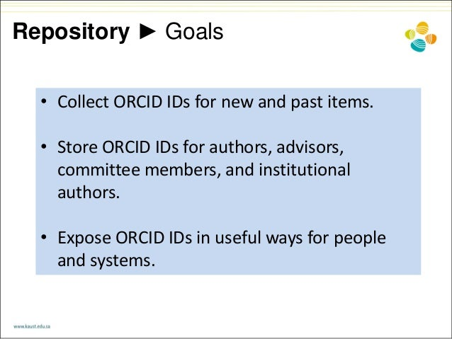 Repository ► Goals • Collect ORCID IDs for new and past items. • Store ORCID IDs for authors, advisors, committee members,...