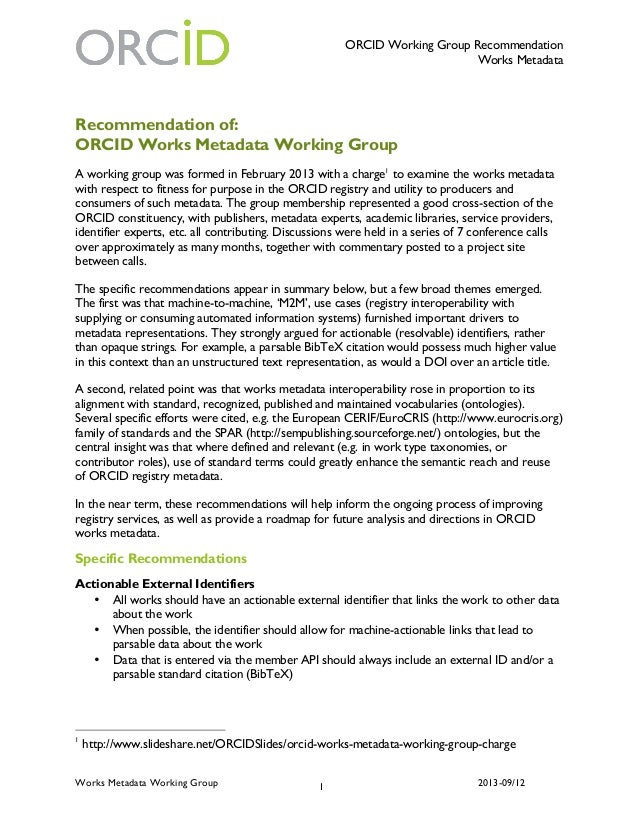 ORCID Working Group Recommendation Works Metadata Works Metadata Working Group 2013-09/121 Recommendation of: ORCID Works ...
