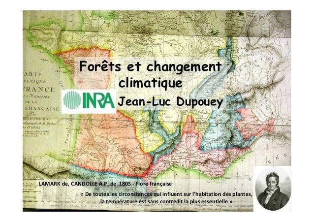 Forêts et changement  climatique  Jean-Luc Dupouey  LAMARK de, CANDOLLE A.P. de 1805 - Flore française  « De toutes les ci...