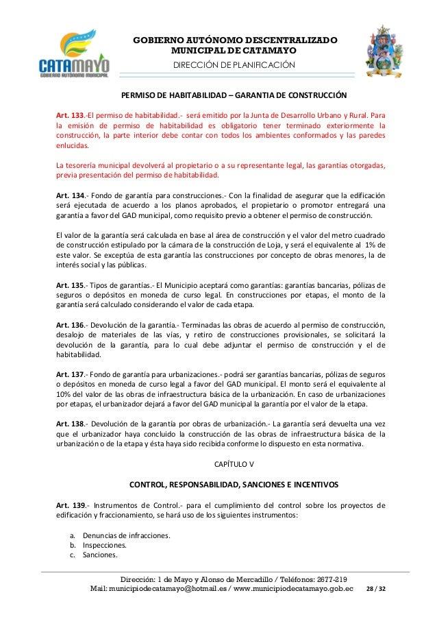 Ordenanza sustitutiva para regularizar la construcci n y - Licencia de habitabilidad ...