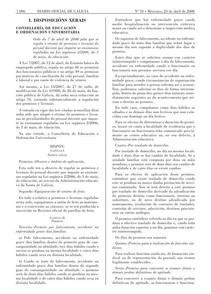 7.096        DIARIO OFICIAL DE GALICIA                                 Nº 78 Mércores, 23 de abril de 2008          I. DIS...