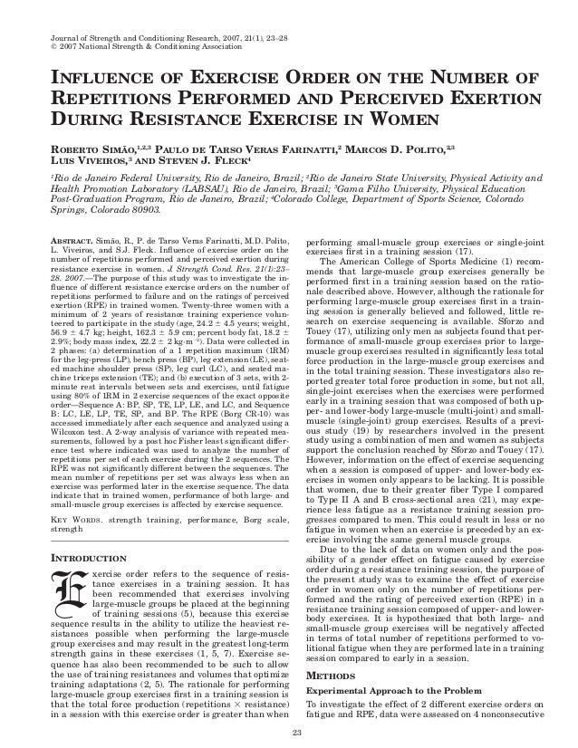Journal of Strength and Conditioning Research, 2007, 21(1), 23–28᭧ 2007 National Strength & Conditioning AssociationINFLUE...