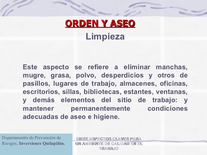 Orden y aseo for Empleo limpieza oficinas