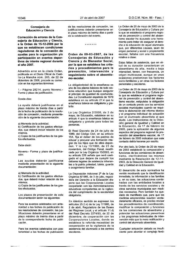 Orden 09 03-2007 absentismo escolar castiila la mancha