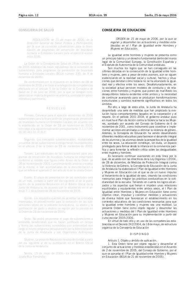 BOJA núm. 99Página núm. 12 Sevilla, 25 de mayo 2006 CONSEJERIA DE SALUD RESOLUCION de 15 de mayo de 2006, de la Dirección ...