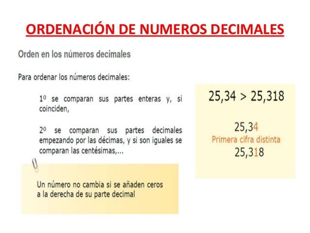 ORDENACIÓN DE NUMEROS DECIMALES