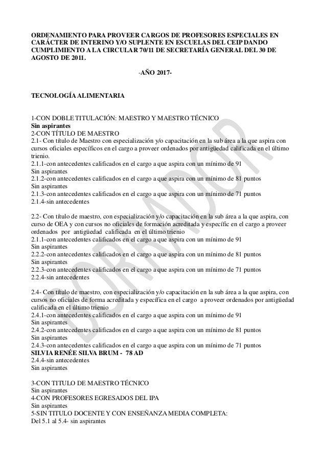 ORDENAMIENTO PARA PROVEER CARGOS DE PROFESORES ESPECIALES EN CARÁCTER DE INTERINO Y/O SUPLENTE EN ESCUELAS DEL CEIP DANDO ...