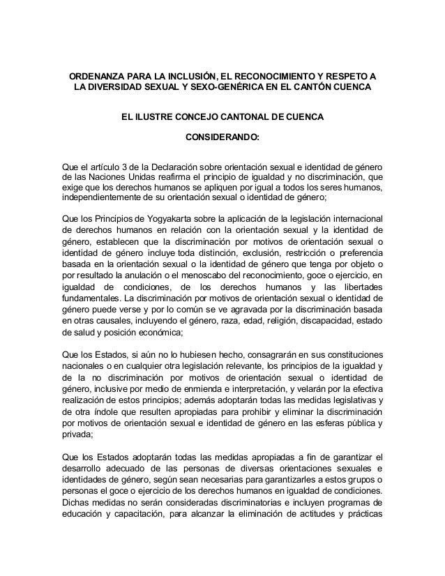ORDENANZA PARA LA INCLUSIÓN, EL RECONOCIMIENTO Y RESPETO A LA DIVERSIDAD SEXUAL Y SEXO-GENÉRICA EN EL CANTÓN CUENCA EL ILU...