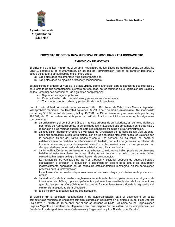 Secretaria General / Servicios Jurídicos /Ayuntamiento de Majadahonda   (Madrid)         PROYECTO DE ORDENANZA MUNICIPAL D...