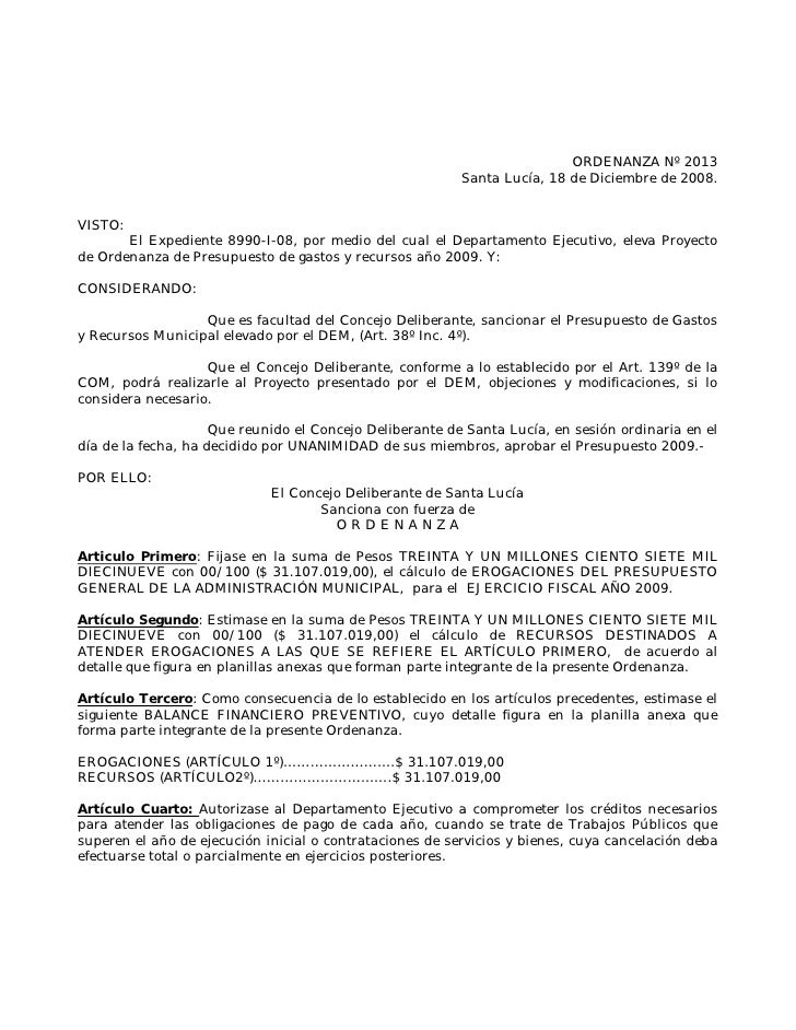ORDENANZA Nº 2013                                                           Santa Lucía, 18 de Diciembre de 2008.   VISTO:...