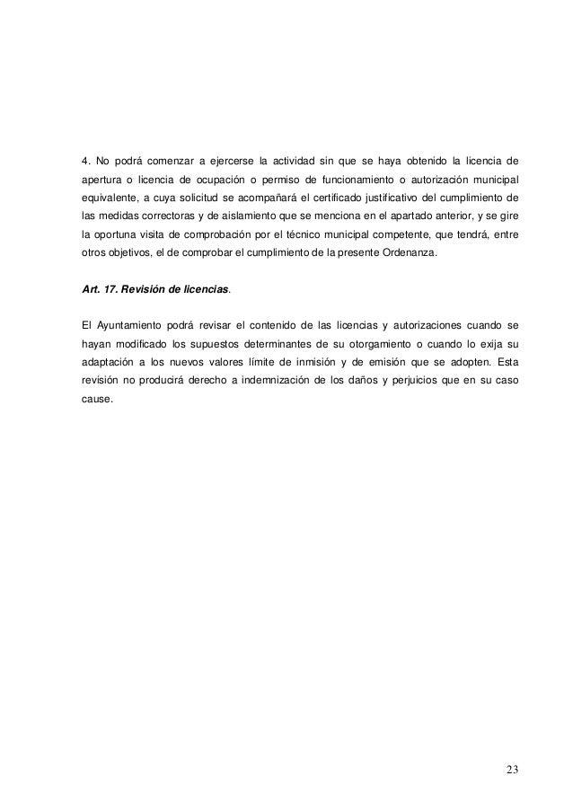 Ordenanza de protecci n contra la contaminaci n ac stica for Diferencia entre licencia de apertura y licencia de actividad
