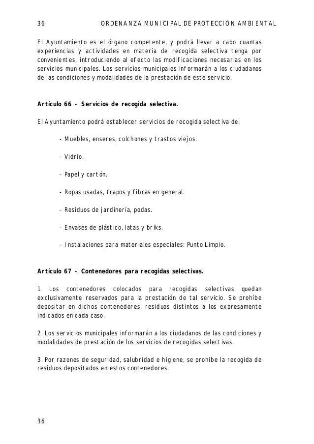 Ordenanza municipal de protecci n ambiental de parla - Recogida de muebles ayuntamiento de madrid ...