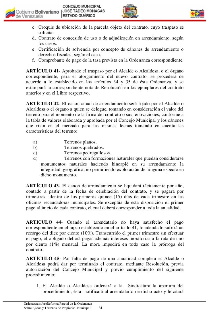 Ordenanza de reforma a la ordenanza de ejido 2012