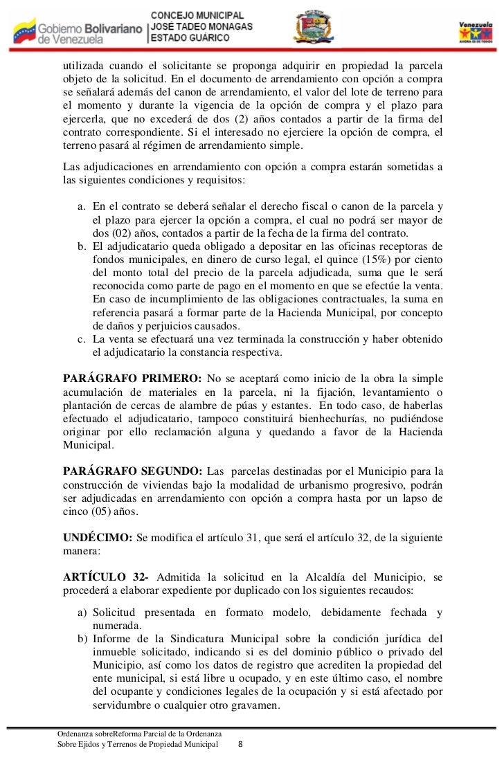 contrato de arrendamiento terreno ejidal - ordenanza de reforma a la ...