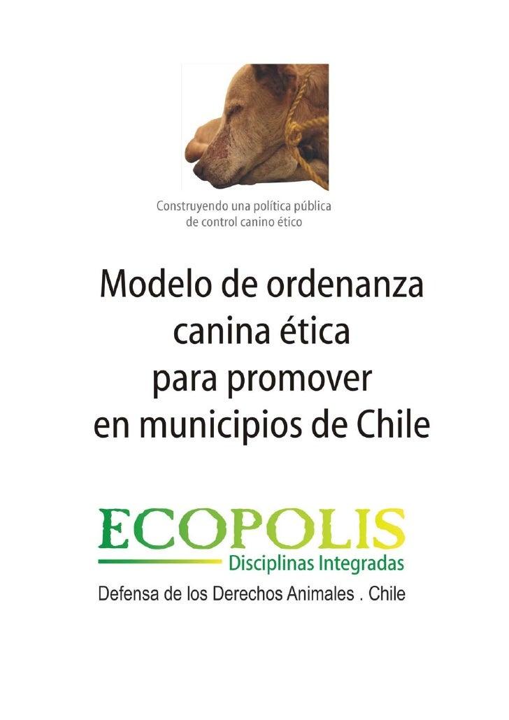 Ordenanza canina ética modelo, para promover en municipios de Chile