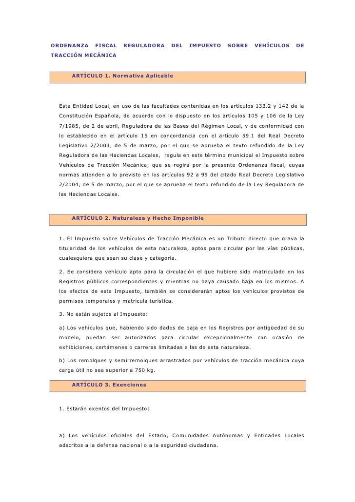 ORDENANZA      FISCAL      REGULADORA       DEL     IMPUESTO      SOBRE       VEHÍCULOS       DETRACCIÓN MECÁNICA      ART...