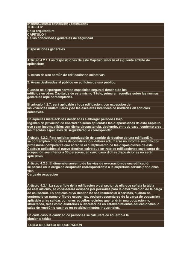 ORDENANZA GENERAL DE URBANISMO Y CONSTRUCCIONTITULO IVDe la arquitecturaCAPITULO IIDe las condiciones generales de segurid...